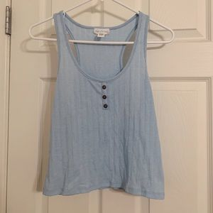 sky blue cropped tank top